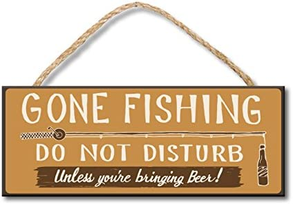 Gone Fishing 4x10 Hanging Wooden Sign by My Word product image