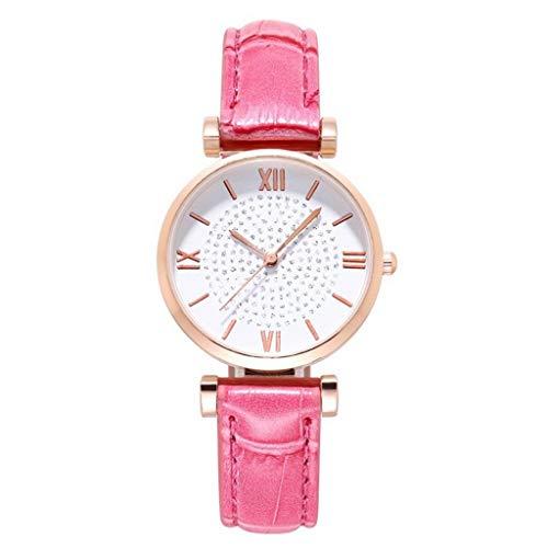 Relojes Para Mujer Relojes para mujer Reloj de cuarzo de cinturón fino de las mujeres Relojes de estudiante de moda Romen Rose Gold Relojes Decorativos Casuales Para Niñas Damas ( Color : Hot Pink )