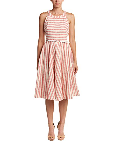Eliza J Women's Belted Fit and Flare Dress, Red/Multi, 14