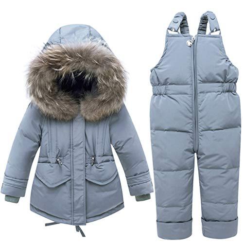 Vine Bambini Tuta da Sci Piumino con Cappuccio + Pantaloni da Sci Bambino 2 Pezzi Tuta da Neve Invernale Completo Salopette da Sci Caldo Giacca Cappotto Snowsuit, 4-5 Anni