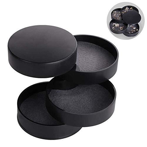 Aokali Caja de almacenamiento de joyas para mujer, bandeja giratoria de 4 niveles, anillo y pendientes, collar de regalo de cumpleaños (negro)