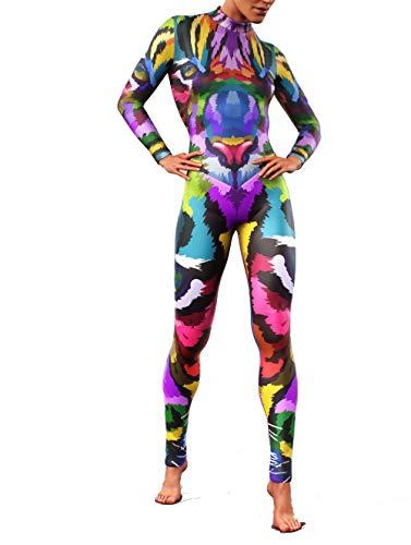 Booty - Tuta da donna scolpita con tigre della giungla | Tuta da donna multicolore Catsuit Rainbow Forest Costume intero con cerniera nascosta multicolore 56