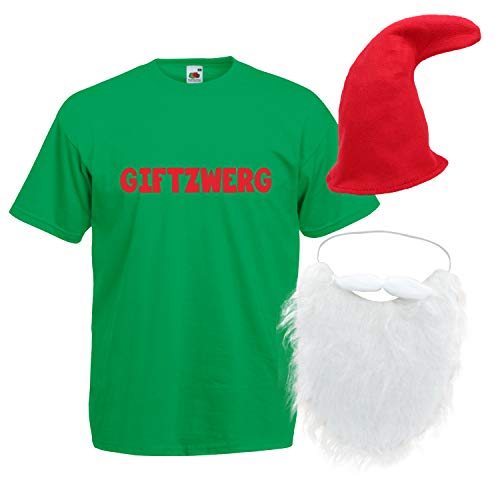 Shirt-Panda Herren T-Shirt · Giftzwerg mit Mütze und Bart Karneval Gruppen Zwerg Kostüm Fasching Verkleidung Party Gnom Darts Unisex Hut Kostüme Fun · Grün (Druck Rot) Mütze & Bart 2XL