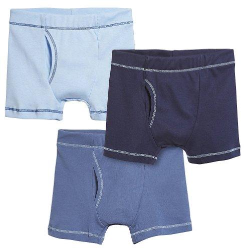 City Threads Boys' Boxer Briefs 100% Super Soft Cotton for Sensitive Skin Sensory Friendly SPD School Play Sports Active, 3-Packs, Shades of Blue, 12