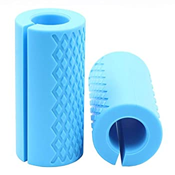 Strainho Pair of Barbell Grips Anti-Slip Rubber Grips Thick Bar Adapter Muscel Builder Bar Grips for Muscle Growth Fit for Barbell & Dumbbell Training Blue
