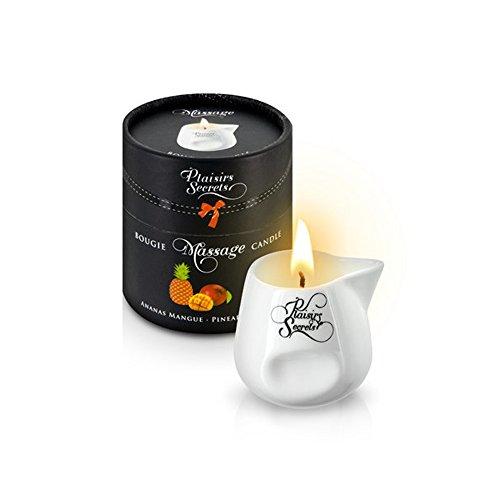 Vela Masaje Erótico Comestible y Afrodisíaca con Aroma Piña y Mango 80 ml. en Recipiente de Cerámica – Plaisirs Secrets Paris