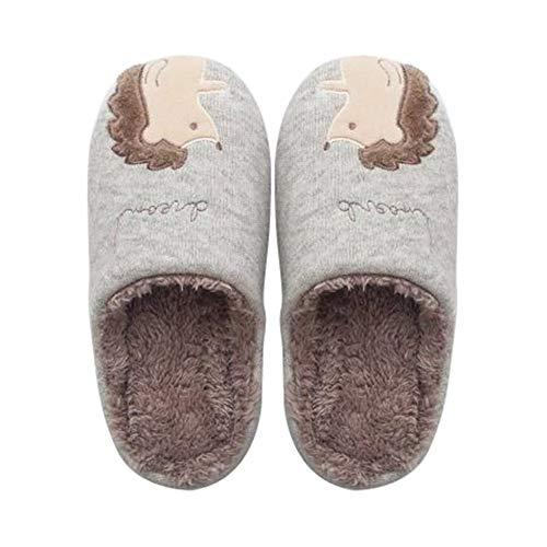 Cosanter Pantofole per Donne Invernali Calde Ciabatte Casa Pattini Cartone Animato Riccio Pantofola Cachi 38-39EU