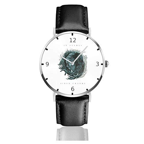 Men's Fashion Minimalist Wrist Watch Quartz Wrist Watch in Flames Siren Charms Leather Strap Watch
