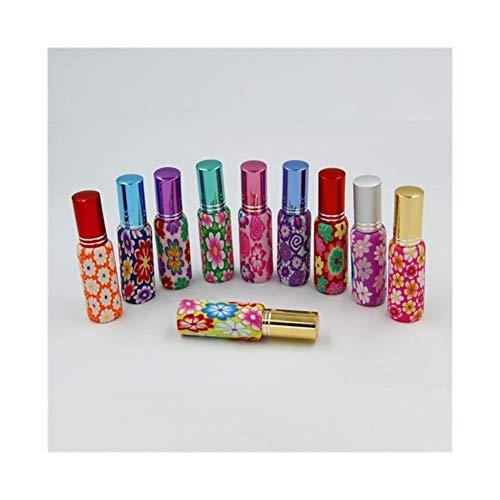 QHKS 20pcs / lot Hot ventes Pompe 10ml Clay verre bouteille de parfum Voyage polymère fimo Vider Vaporisateur parfum pompe cas de couleur aléatoire (Color : Mix color, Material : Mix lid)