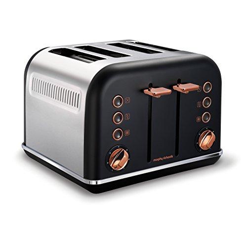 Morphy Richards Toaster Accents 4Scheiben Schwarz Rosa Gold
