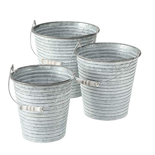 WHW Whole House Worlds Corrugated Galvanized Metal Pail Planters, Set of 3, Round, Bucket Cache Pot Jardinieres,Distressed Pale Grey Finish, Vintage Wooden Dowel Detail