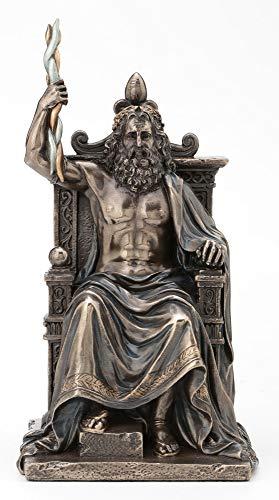 Veronese Design Olympia-Statue Zeus hält Thunderbolt auf Thron griechischer römischer Gott antikes Bronze-Finish