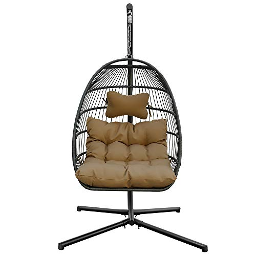 YTYC Hanging Egg Chair,Wicker Rattan Swing Chair, Hanging Chair, Comfy Outdoor Collapsible Outdoor Hanging Chair with Stand,Outdoor Patio Porch Lounge Egg Chair (Brown)