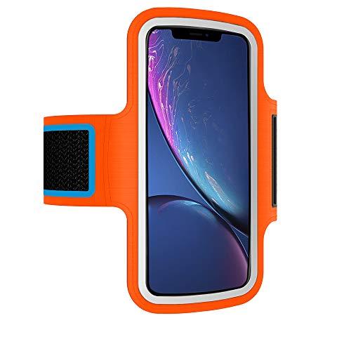 Brazalete Deportivo movil Compatible con Xiaomi Mi 9T Running Deporte Funda Banda Deportiva Transpirable Bolsillo para Llaves Cables Auriculares Tarjetas (Naranja)