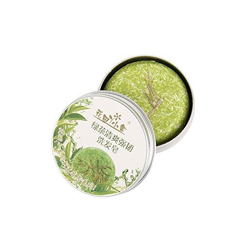 Barre de Shampooing, Angmile Barre Solide Shampooing Savon Croissance des Cheveux Savon Bar pour la Perte de Cheveux Nettoyage usine Essence Shampoo & Conditioner 100% Naturel (Thé Vert)
