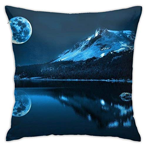Throw Pillow Cover Cushion Cover Pillow Cases Decorative Linen Blue Moonlight for Home Bed Decor Pillowcase,45x45CM