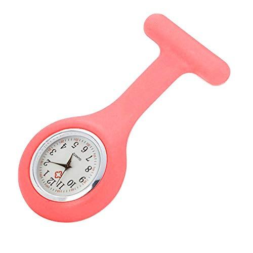 Mode Taschenuhren Silikon Krankenschwester Uhr Brosche Tunika TaschenuhrMinimalist Uhr Pink
