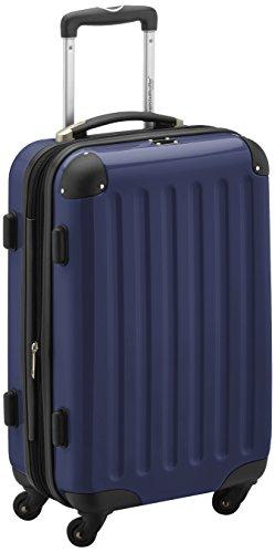 HAUPTSTADTKOFFER - Alex - Handgepäck Hartschalen-Koffer Trolley Rollkoffer Reisekoffer Erweiterbar,  4 Rollen, 55 cm, 42 Liter, Dunkelblau