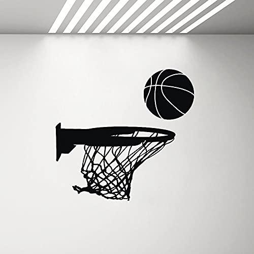 AiEnmaw Pegatina de vinilo para pared, diseño de aro de baloncesto, decoración deportiva, para garaje, hombre, decoración de la cueva, calcomanía de pared para dormitorio infantil, 60 x 57 cm