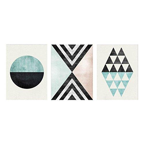 B Blesiya 3 Unids Nórdico Moderno Arte Abstracto Lienzo Pintura Al óleo Cuadros Geométricos De La Pared Para La Sala De Estar Decoración Escandinavo - Verde, L