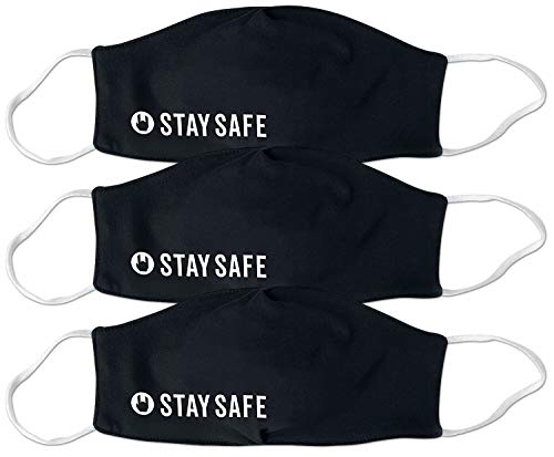 EMP Stay Safe - Bundle Unisex Maske schwarz 100% Baumwolle Basics, Fashion & Style