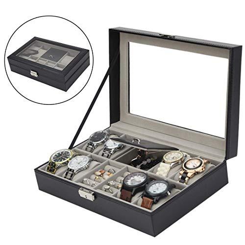 LCYFBE 8 Gitter Mens Uhren Organizer,Ringe Schmuckbox,Uhrenkasten mit Glasdeckel,PU Leder Schmuck Vitrine für Aufbewahrung und Display, Schwarz