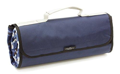The Greenfield Collection PB003H Voll ausgekleidete, isolierte und wasserabweisende Picknickdecke in mitternachtsblau, passend zum Rucksack