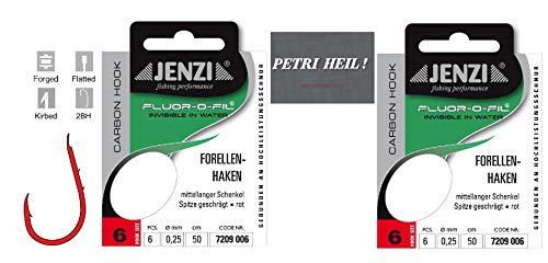 .Jenzi Set: 2 Packungen gebundene Forellenhaken (12 Stück) an Fluoro-Carbon Schnur, Hakengröße 6 + gratis Petri Heill! Aufkleber