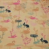 Megan Blue Jersey mit Flamingos, Hasen, Vögel und Blumen
