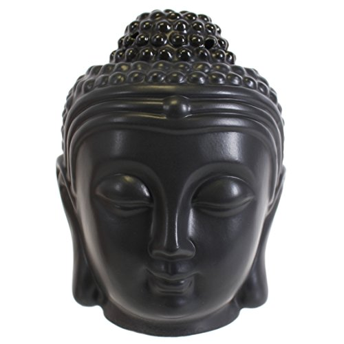 Giftbrit Ceramic Black Buddha Head Essential Oil Burner Aromatherapy Oil Diffuser Ornament for Yoga Spa Home Bedroom Decor Gift