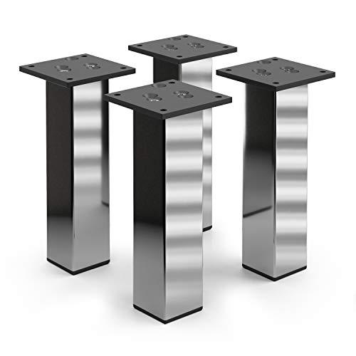 sossai® Exklusiv - Aluminium meubelpoten   E4MF-N   Set van 4   Hoogte: 200 mm   Kleur: chroom
