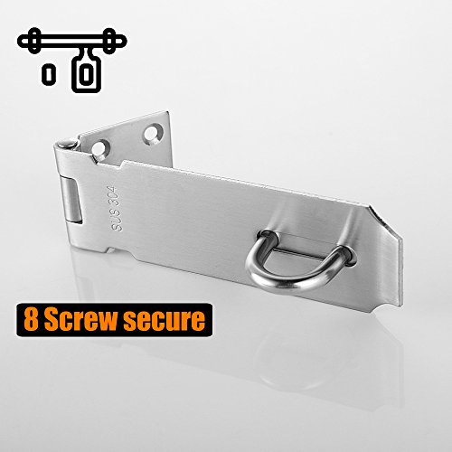Product Image 5: JQK Door Hasp Latch Lock, 5 Inch 304 Stainless Steel Safety Packlock Clasp Thickness 1.9 mm, Brushed Finish, DL130-BN