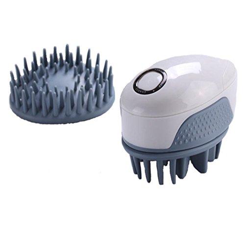 MEYLEE Masseur de Cuir chevelu antidérapant Rechargeable Massage à Main électrique avec Vibration pour tête d'épaule Retour avec 2 pièces jointes interchangeables