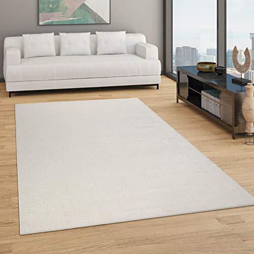 Paco Home Teppich Wohnzimmer Einfarbig Schlicht Und Modern Kurzflor, Versch. Größen Farben, Grösse:160x220 cm, Farbe:Creme