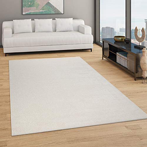 Paco Home Teppich Wohnzimmer Einfarbig Schlicht Und Modern Kurzflor, Versch. Größen Farben, Grösse:80x150 cm, Farbe:Creme