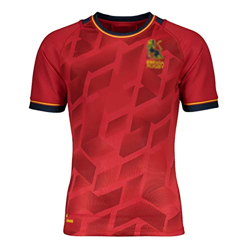 WXFO 2021 Espana Rugby Jersey, Manga Corta Hombre Rugby Formning Jersey, Top de Rugby para Hombres Mujeres Summer Casual Camiseta, Camiseta Deportiva al Aire Libre ocasio Red-XXXL