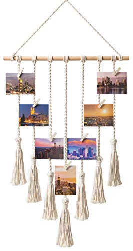 Mkono Hanging Photo Display Macrame Wall Hanging Pictures Decor