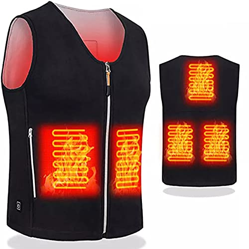HUJUNG Chaleco con calefacción USB al aire libre Chaqueta Invierno Térmico Flexible Eléctrico Ropa de abrigo Chaleco de pesca Chaleco de cuero para mujer,XX-Large Black