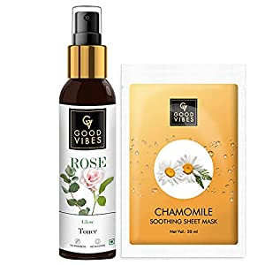 Good Vibes Skin Care Combo - Rose Glow Toner (120 ml) and Chamomile Soothing Sheet Mask (20 ml)
