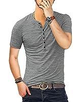 KUYIGO Men's Henley Shirts Short Sleeve Slim Fit Summer Shirts (Large, 01 Grey)