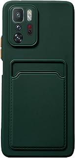 حافظة بلاستيكية رفيعة مع حامل بطاقات لهاتف Xiaomi POCO X3 GT (أخضر داكن)