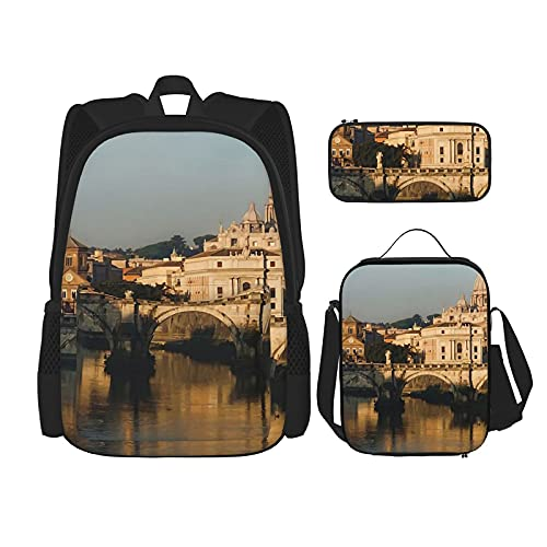St Peter's Morning Glow – Impressions of Roma Zaino Scuola Set 3 Pezzi, Borsa Scuola + Astuccio + Borsa Pranzo Combinazione Stampa 3D, Tela Viaggi Campeggio Zaino Gioventù