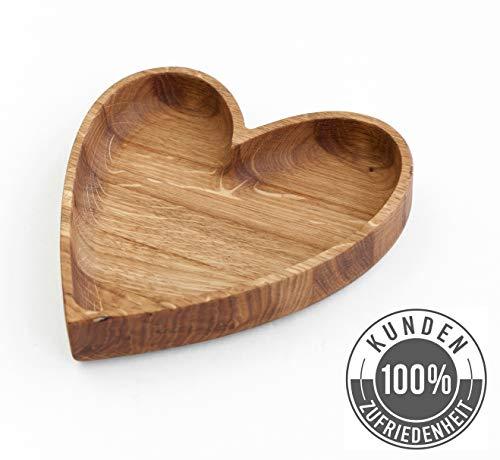 Antibakterieller Massivholz Kinderteller aus Europa | Holzteller Groß 17 x 15 cm | Originelles Geschenk aus Holz in Herz Form | Kindergeschirr, Babyteller, Holzschale, Servierschale