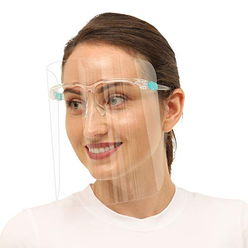 6pcs Face Shield with 3pcs Glasses Frame Set for Women and Men, UPDATED VERSION, The Best Goggle Shield (6+3, Transparent)