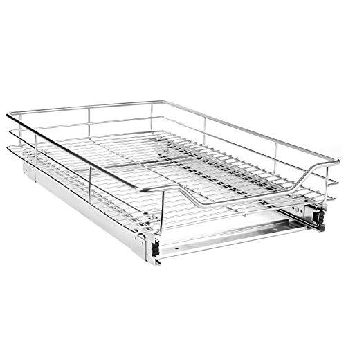 EASYTECH Pull-Out Sliding Cabinet Organizer Storage Basket Rack Drawer for Wardrobes Cupboards2 Set