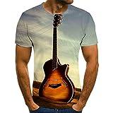 NSBXDWRM Camiseta con 3D Impreso,Unisex Novedad Creativa Personalidad 3D Gráfico Cable Guitarra Camisetas De Manga Corta Impresión Crew-Neck tee para Hombres Y Mujeres Youngs,M