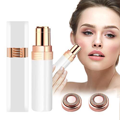 JYPS Depiladora Facial Mujer, Eléctrico Depilar para Sin dolor Afeitadora Mujer Afeitado Portátil para Vello Facial Con Cabezal de Repuesto, Cepillo de Limpieza y Luz (Blanco)