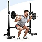 amzdeal Pair of Squat Rack Stand, Muti-Function Barbell Rack, Free Press Bench Home & Gym Adjustable Dumbbell Racks Stands
