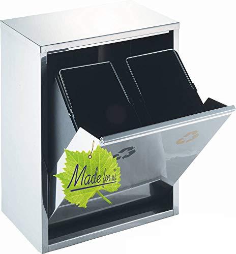 Made for us 16 L Edelstahl Wand-Abfalleimer 2x8 L Mülleimer 2-fach Mülltrennung 2er Müll-Trennsystem 16 Liter Abfallsammler zur Abfall-Trennung