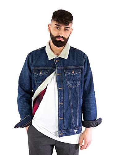 Guess Giubbino Jeans Sherpa Jeans (Blu, S)